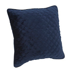Navy Velvet Quilted Pillow