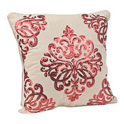 Red Metallic Scroll Pillow