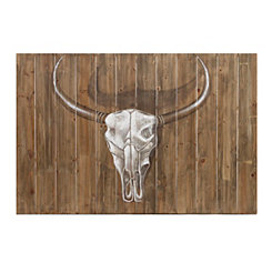 Steer Skull Wooden Wall Art