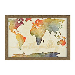 Golden Rainbow World Map Framed Art Print