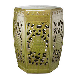 Cutout Green Ceramic Garden Stool