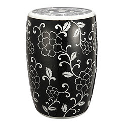 Black and White Floral Garden Stool