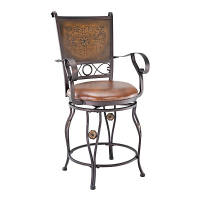 Copper Stamped Counter Stool with Arms