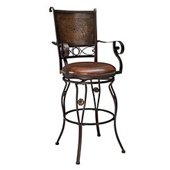 Copper Stamped Bar Stool with Arms