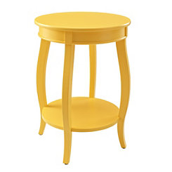 Yellow Round Accent Table with Shelf