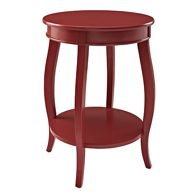 Red Round Accent Table with Shelf