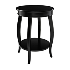Black Round Accent Table with Shelf