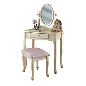 Cream Kid's Vanity and Stool Set