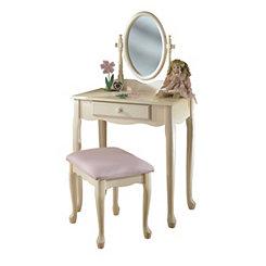 Cream Kid's Vanity and Stool Set
