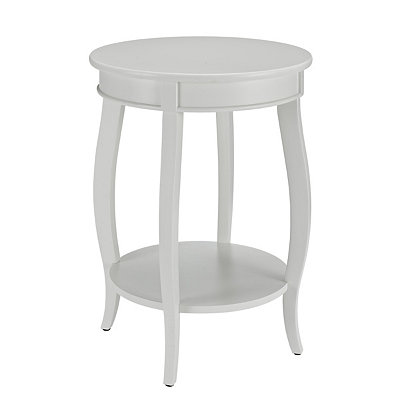 White Round Accent Table with Shelf
