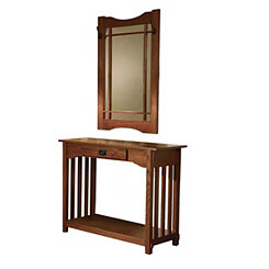 Misson Oak Console Table and Mirror Set