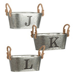 Galvanized Metal Monogram Buckets