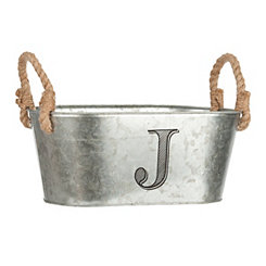 Galvanized Metal Monogram J Bucket