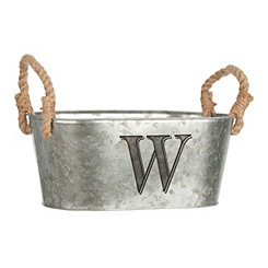 Galvanized Metal Monogram W Bucket