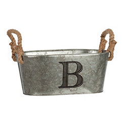 Galvanized Metal Monogram B Bucket
