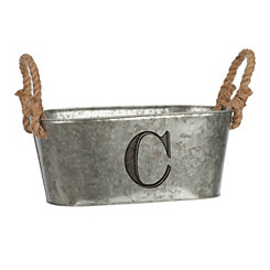 Galvanized Metal Monogram C Bucket