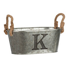 Galvanized Metal Monogram K Bucket
