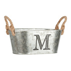 Galvanized Metal Monogram M Bucket