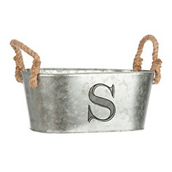 Galvanized Metal Monogram S Bucket