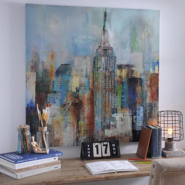 Blue Haze City Canvas Art Print