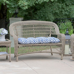Blue Aztec Outdoor Settee Cushion