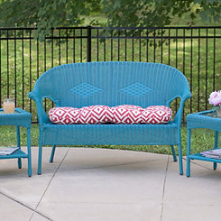 Red Aztec Outdoor Settee Cushion