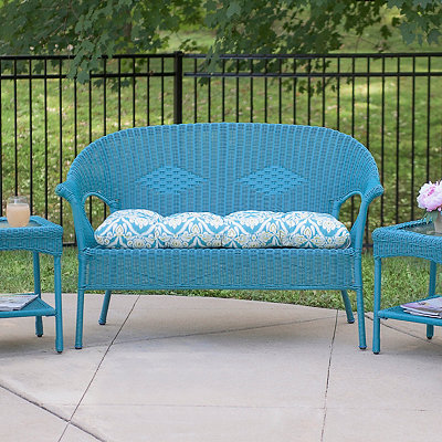 Teal Jaipur Peacock Outdoor Settee Cushion