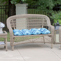 Spanish Tile Blue Outdoor Settee Cushion