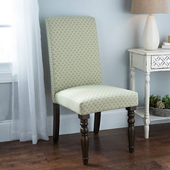 Green Quatrefoil Parsons Chair