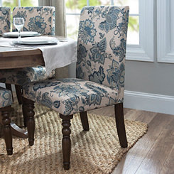 Navy Floral Parsons Chair