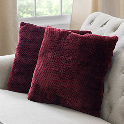 Roble Red Plush Pillows, Set of 2