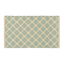 Blue and Ivory Lattice Scatter Rug