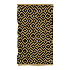 Black and Tan Diamond Lattice Scatter Rug