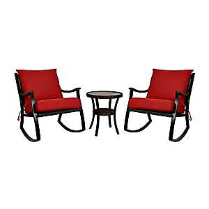 Red Barclay Brown Wicker Rockers & Table, Set of 3