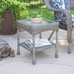 Savannah Gray Wicker Side Table