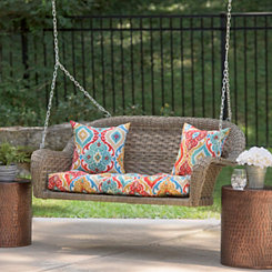 Savannah Gray Wicker Porch Swing