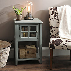 Blue Windowpane Side Table