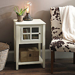 Cream Windowpane Side Table