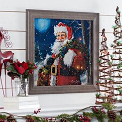 Santa's Snowy Night Framed Art Print