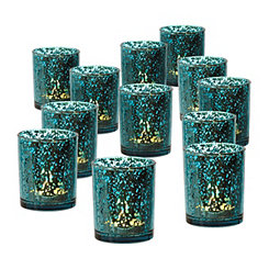 Turquoise Mercury Glass Candle Holders, Set of 12