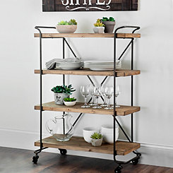 Industrial Natural Wood Rolling Shelf