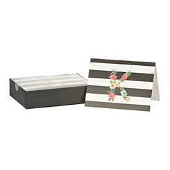 Floral Monogram K Boxed Notecard Set