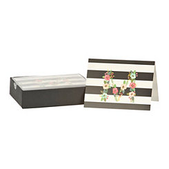 Floral Monogram M Boxed Notecard Set