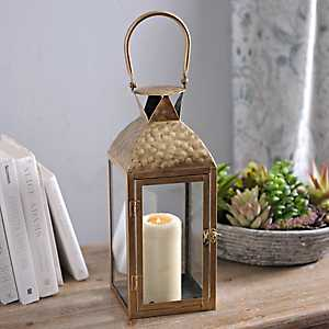 Textured Gold Metal Lantern