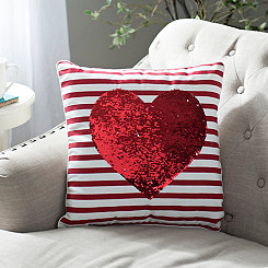 Sequin Heart Reversible Pillow