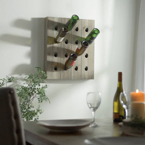 Slatted Wood Wine Bottle Rack