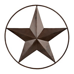 Bronze Rope and Star Metal Wall Plaque