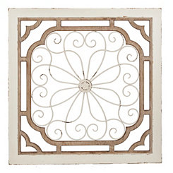 Distressed Vedara Wood and Metal Wall Plaque