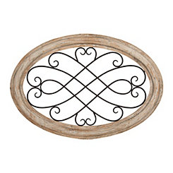 Heidi Scrolled Metal Wood Wall Plaque