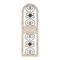 Distressed White Arch Courtyard Panel Plaque